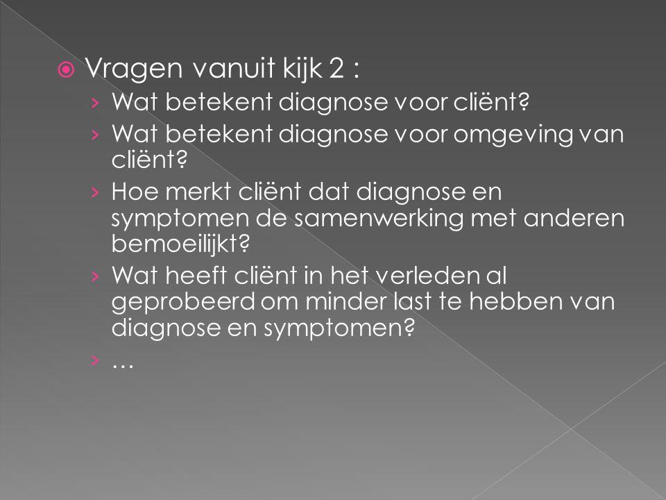  Vragen vanuit kijk 2 : › Wat betekent diagnose voor cliënt.