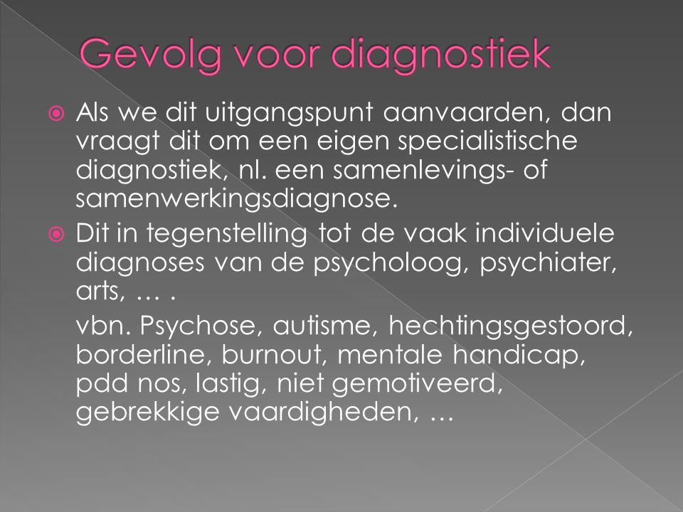  Als we dit uitgangspunt aanvaarden, dan vraagt dit om een eigen specialistische diagnostiek, nl.