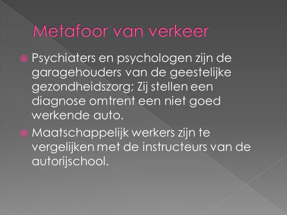  Psychiaters en psychologen zijn de garagehouders van de geestelijke gezondheidszorg; Zij stellen een diagnose omtrent een niet goed werkende auto.