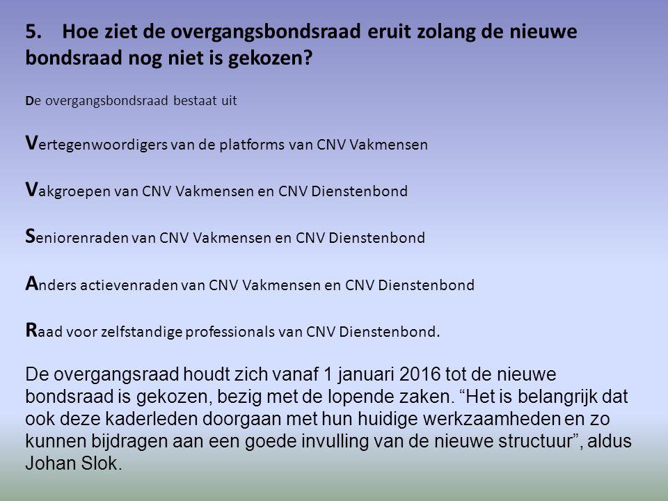 5. Hoe ziet de overgangsbondsraad eruit zolang de nieuwe bondsraad nog niet is gekozen.