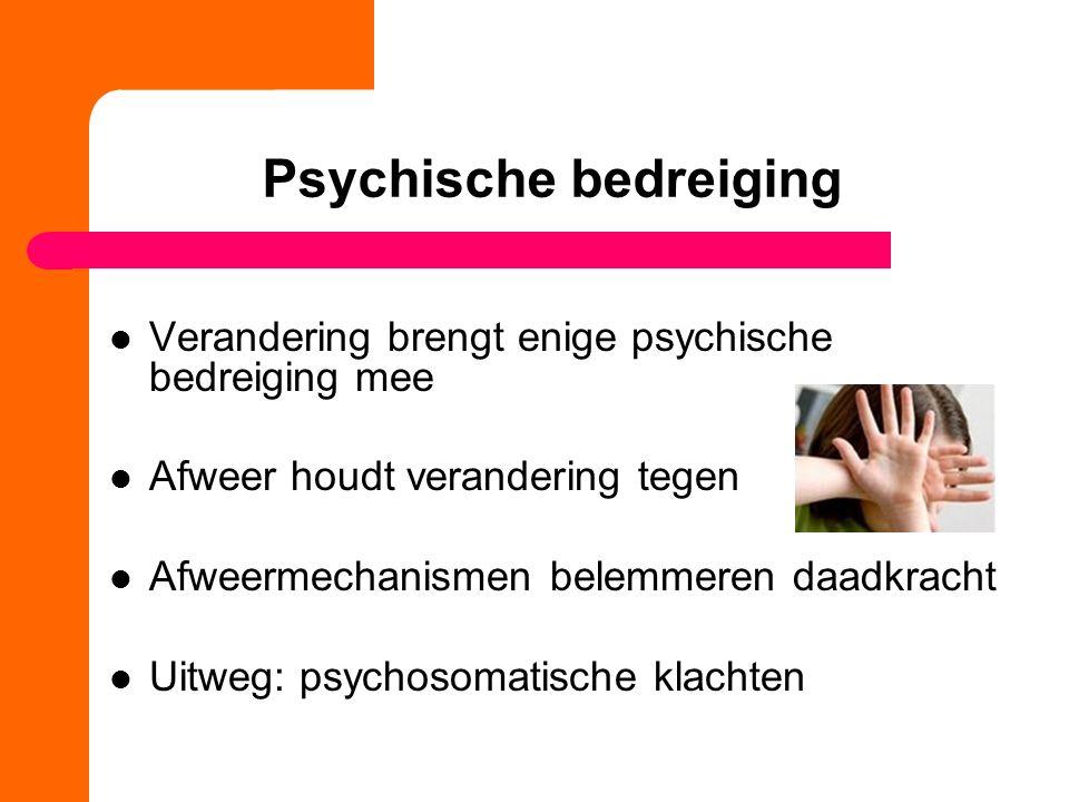 Psychische bedreiging Verandering brengt enige psychische bedreiging mee Afweer houdt verandering tegen Afweermechanismen belemmeren daadkracht Uitweg