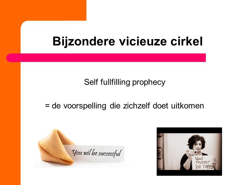 Bijzondere vicieuze cirkel Self fullfilling prophecy = de voorspelling die zichzelf doet uitkomen