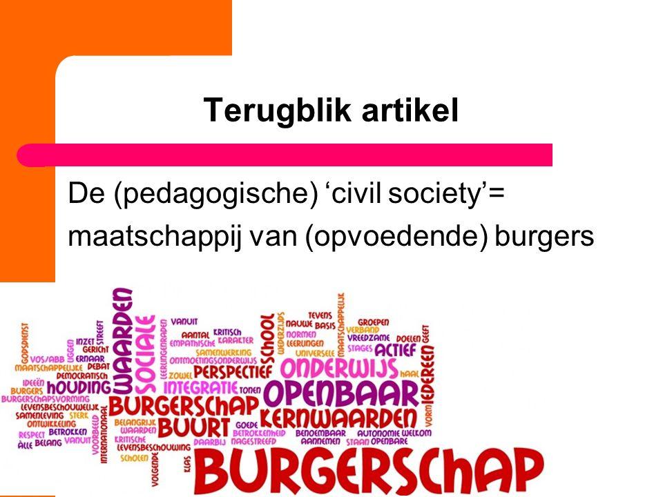 Terugblik artikel De (pedagogische) 'civil society'= maatschappij van (opvoedende) burgers 5
