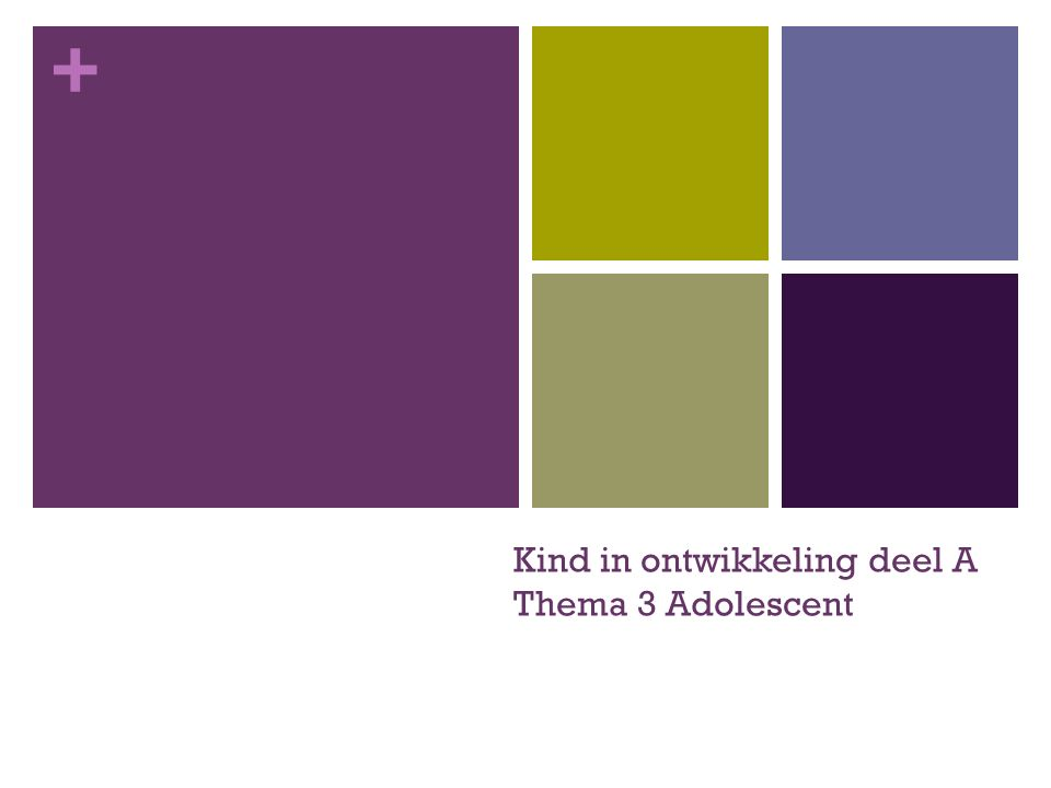 + Kind in ontwikkeling deel A Thema 3 Adolescent