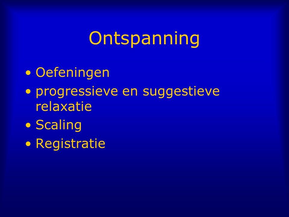 Ontspanning Oefeningen progressieve en suggestieve relaxatie Scaling Registratie