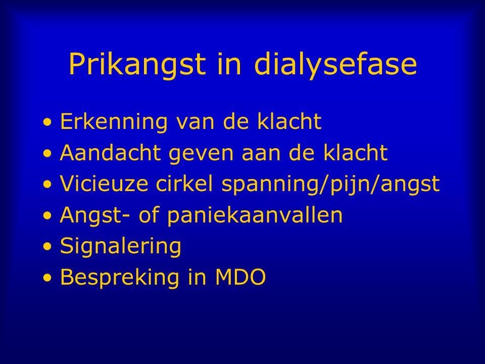Prikangst in dialysefase Erkenning van de klacht Aandacht geven aan de klacht Vicieuze cirkel spanning/pijn/angst Angst- of paniekaanvallen Signalering Bespreking in MDO