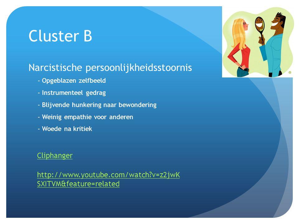 Cluster B Narcistische persoonlijkheidsstoornis - Opgeblazen zelfbeeld - Instrumenteel gedrag - Blijvende hunkering naar bewondering - Weinig empathie voor anderen - Woede na kritiek Cliphanger http://www.youtube.com/watch?v=z2jwK SXITVM&feature=related