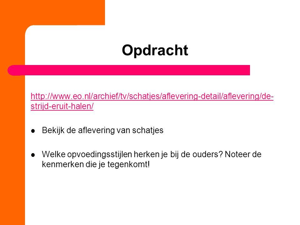 Opdracht http://www.eo.nl/archief/tv/schatjes/aflevering-detail/aflevering/de- strijd-eruit-halen/ Bekijk de aflevering van schatjes Welke opvoedingss