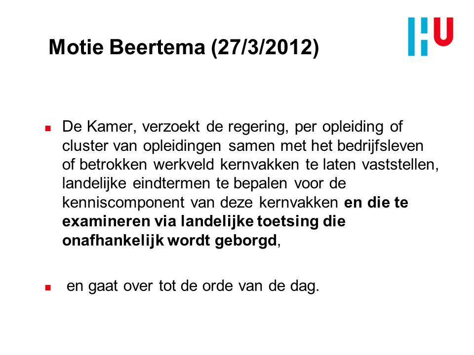 Motie Beertema (27/3/2012) n De Kamer, verzoekt de regering, per opleiding of cluster van opleidingen samen met het bedrijfsleven of betrokken werkvel