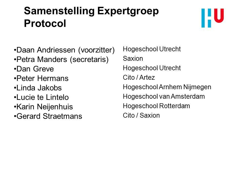 Samenstelling Expertgroep Protocol Daan Andriessen (voorzitter) Hogeschool Utrecht Petra Manders (secretaris) Saxion Dan Greve Hogeschool Utrecht Pete