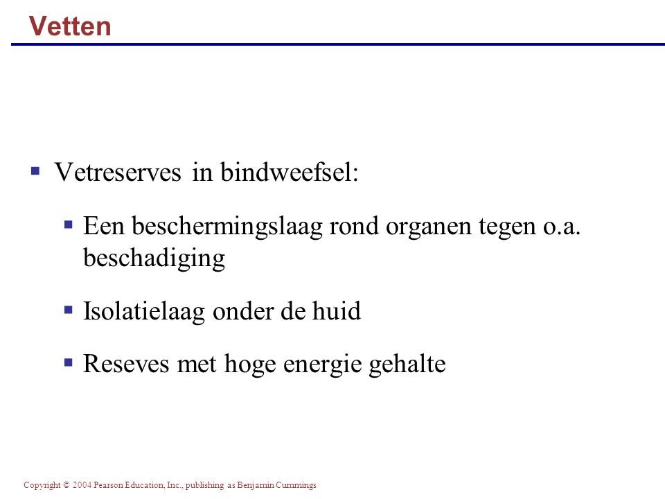 Copyright © 2004 Pearson Education, Inc., publishing as Benjamin Cummings Redoxketen in mitochondrion waar langs H+ gaat en er energie bij vrijkomt.
