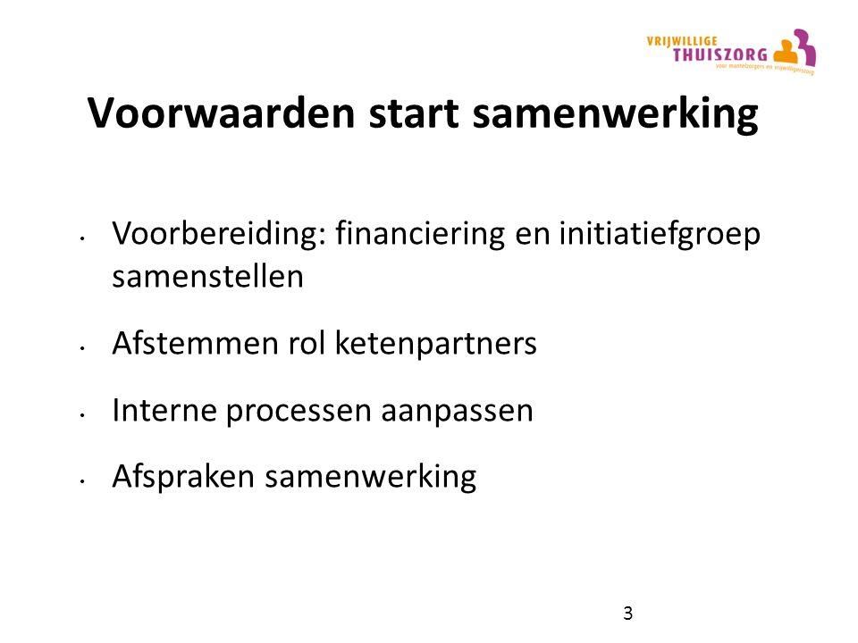 Voorwaarden start samenwerking Voorbereiding: financiering en initiatiefgroep samenstellen Afstemmen rol ketenpartners Interne processen aanpassen Afspraken samenwerking 3