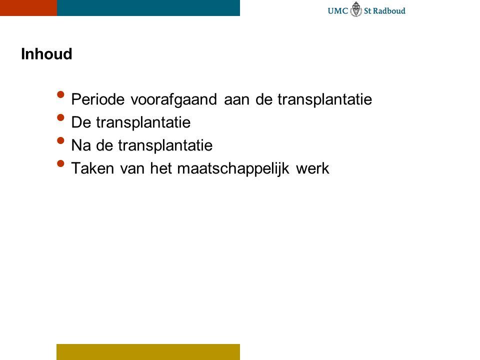 Inhoud Periode voorafgaand aan de transplantatie De transplantatie Na de transplantatie Taken van het maatschappelijk werk