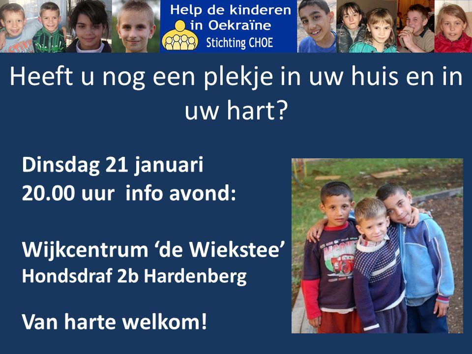 Dinsdag 21 januari 20.00 uur info avond: Wijkcentrum 'de Wiekstee' Hondsdraf 2b Hardenberg Van harte welkom.