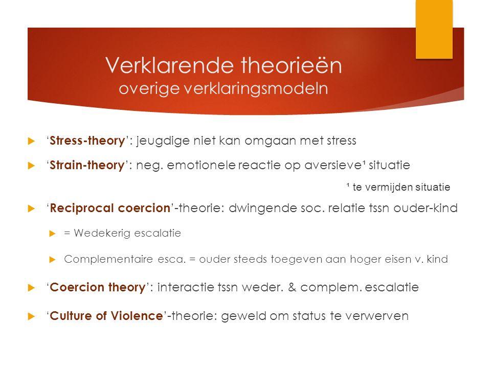 Verklarende theorieën overige verklaringsmodeln  ' Stress-theory ': jeugdige niet kan omgaan met stress  ' Strain-theory ': neg.