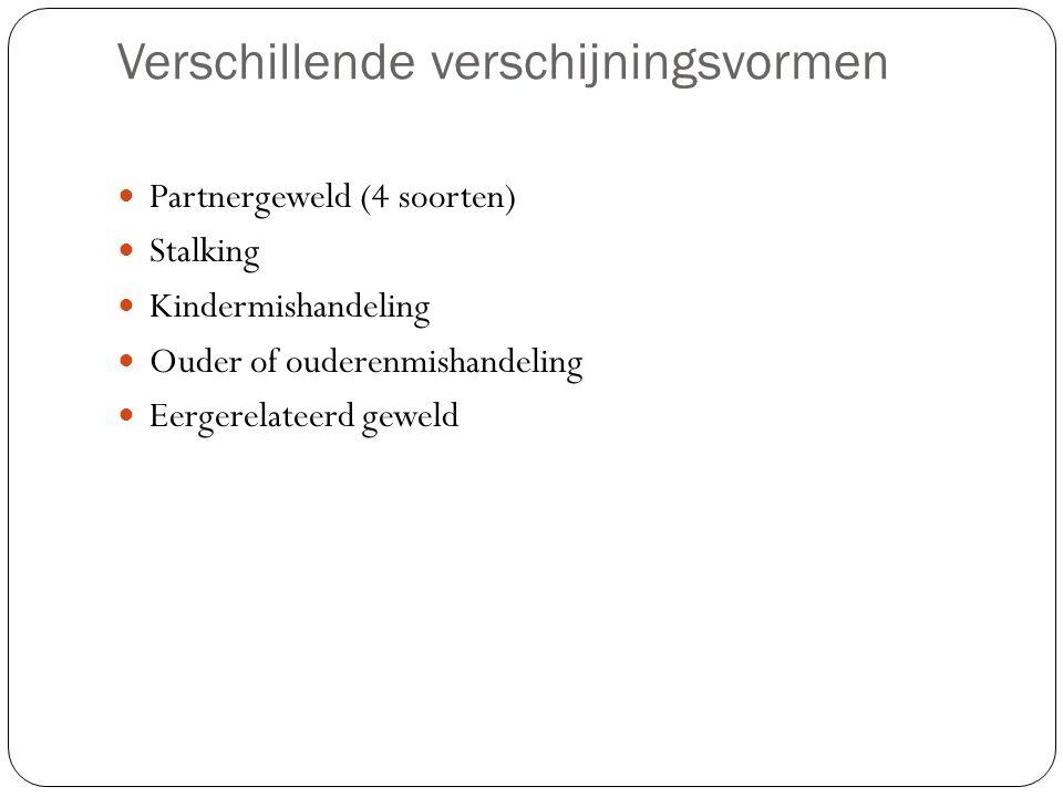 Verschillende verschijningsvormen Partnergeweld (4 soorten) Stalking Kindermishandeling Ouder of ouderenmishandeling Eergerelateerd geweld
