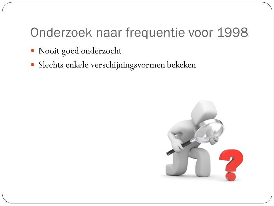 Onderzoek naar frequentie na 1998 In opdracht van minister voor Gelijke Kansen Onderzoek door Bruynooghe- Noelanders en Opdebeeck Geweld in algemene zin bij betrokkenen Onderzoek Jaspaert, Groenen en Vervaeke: mannen meer en meer slachtoffer
