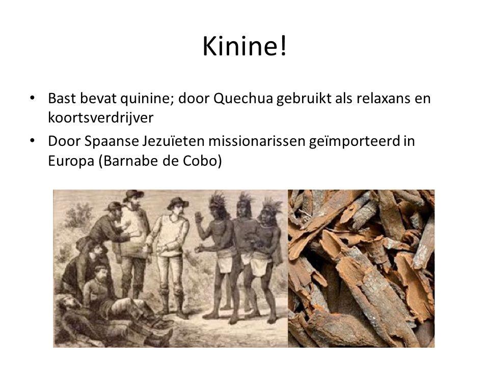 Kinine 1820 Joseph Pelletier & Jean Bienaime Caventou isoleren kinine uit de bast 1860 Engelsman Ledger & Amerikaan Manuel Incra Manami verzamelen zaden van de boom in de Andes Peru richt exportverbod op
