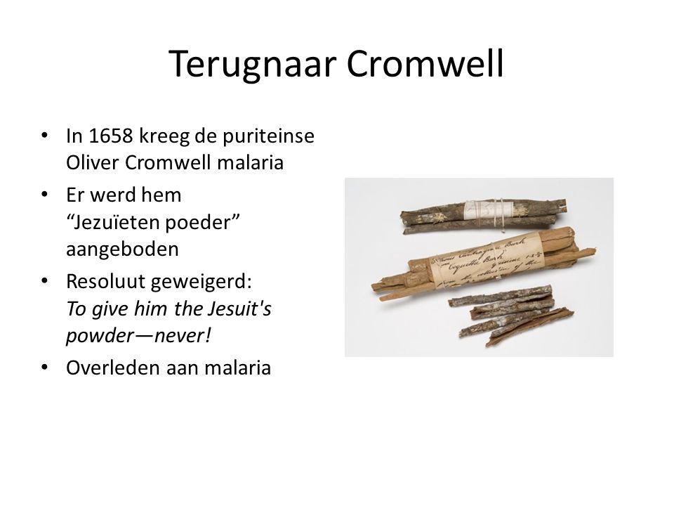 "Terugnaar Cromwell In 1658 kreeg de puriteinse Oliver Cromwell malaria Er werd hem ""Jezuïeten poeder"" aangeboden Resoluut geweigerd: To give him the J"