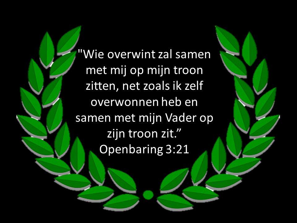 Wie overwint zal samen met mij op mijn troon zitten, net zoals ik zelf overwonnen heb en samen met mijn Vader op zijn troon zit. Openbaring 3:21