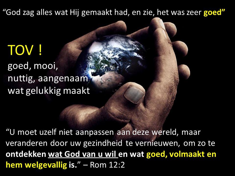 U moet uzelf niet aanpassen aan deze wereld, maar veranderen door uw gezindheid te vernieuwen, om zo te ontdekken wat God van u wil en wat goed, volmaakt en hem welgevallig is. – Rom 12:2 God zag alles wat Hij gemaakt had, en zie, het was zeer goed TOV .