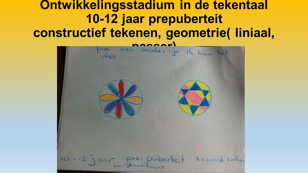 Ontwikkelingsstadium in de tekentaal 10-12 jaar prepuberteit constructief tekenen, geometrie( liniaal, passer)