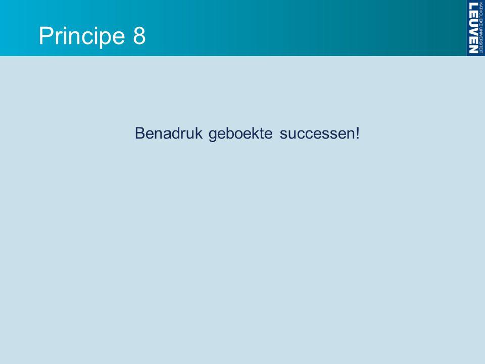 Principe 8 Benadruk geboekte successen!