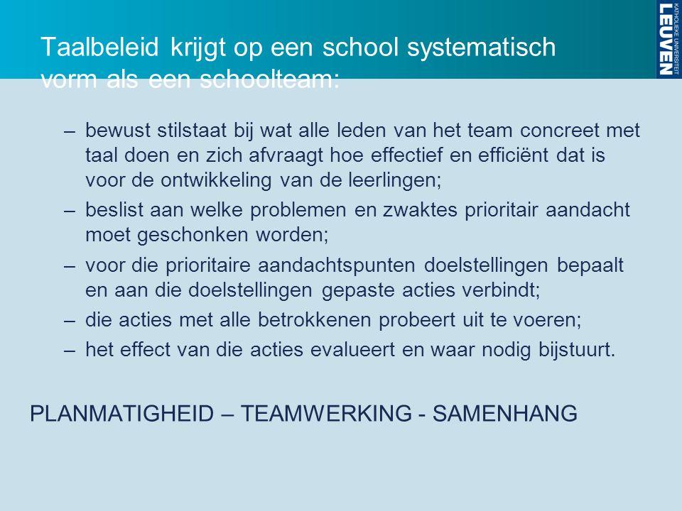 Taalbeleid krijgt op een school systematisch vorm als een schoolteam: –bewust stilstaat bij wat alle leden van het team concreet met taal doen en zich afvraagt hoe effectief en efficiënt dat is voor de ontwikkeling van de leerlingen; –beslist aan welke problemen en zwaktes prioritair aandacht moet geschonken worden; –voor die prioritaire aandachtspunten doelstellingen bepaalt en aan die doelstellingen gepaste acties verbindt; –die acties met alle betrokkenen probeert uit te voeren; –het effect van die acties evalueert en waar nodig bijstuurt.