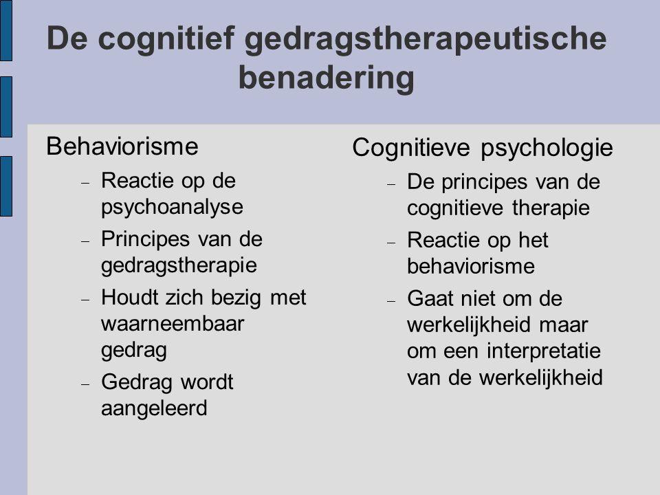 De cognitief gedragstherapeutische benadering Behaviorisme  Reactie op de psychoanalyse  Principes van de gedragstherapie  Houdt zich bezig met waa