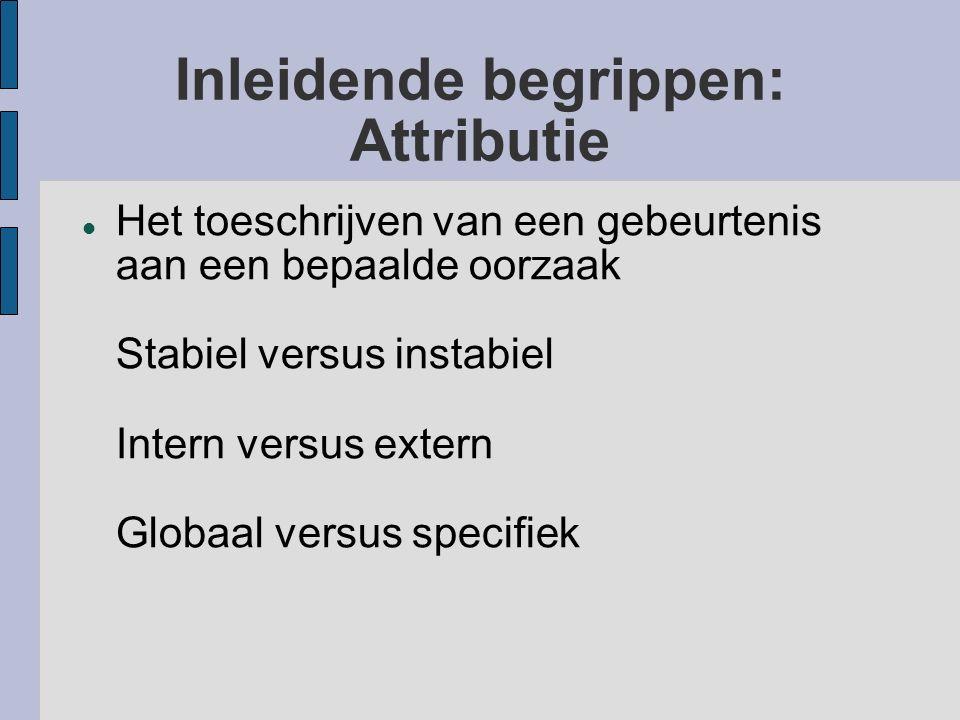 Inleidende begrippen: Attributie Het toeschrijven van een gebeurtenis aan een bepaalde oorzaak Stabiel versus instabiel Intern versus extern Globaal v