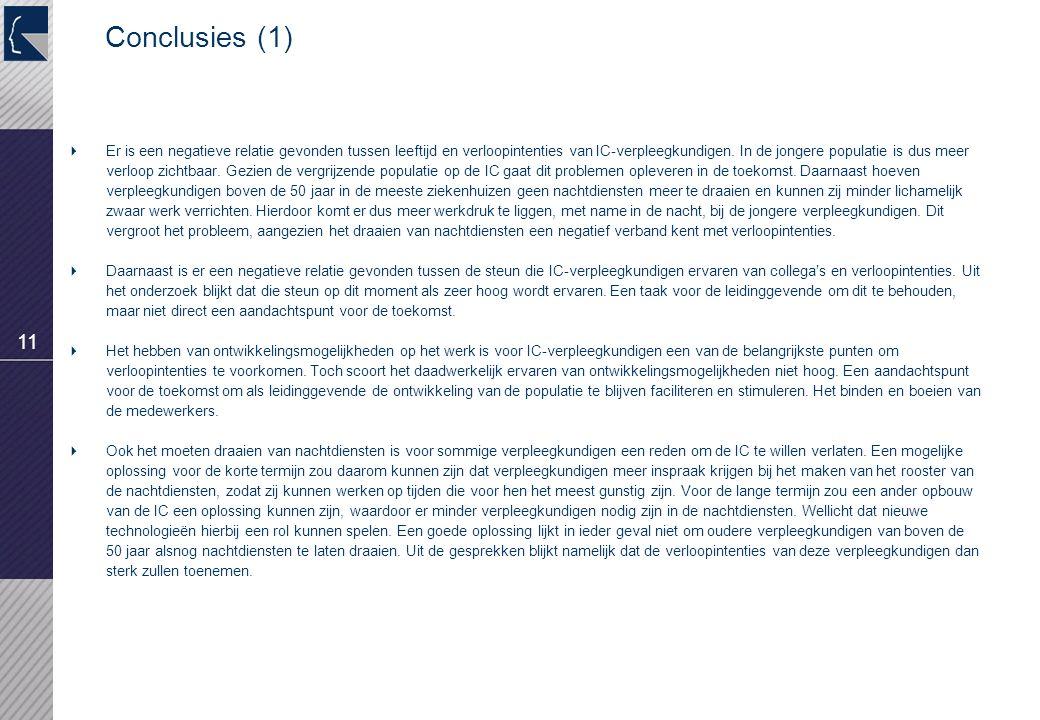 11 Conclusies (1)  Er is een negatieve relatie gevonden tussen leeftijd en verloopintenties van IC-verpleegkundigen.