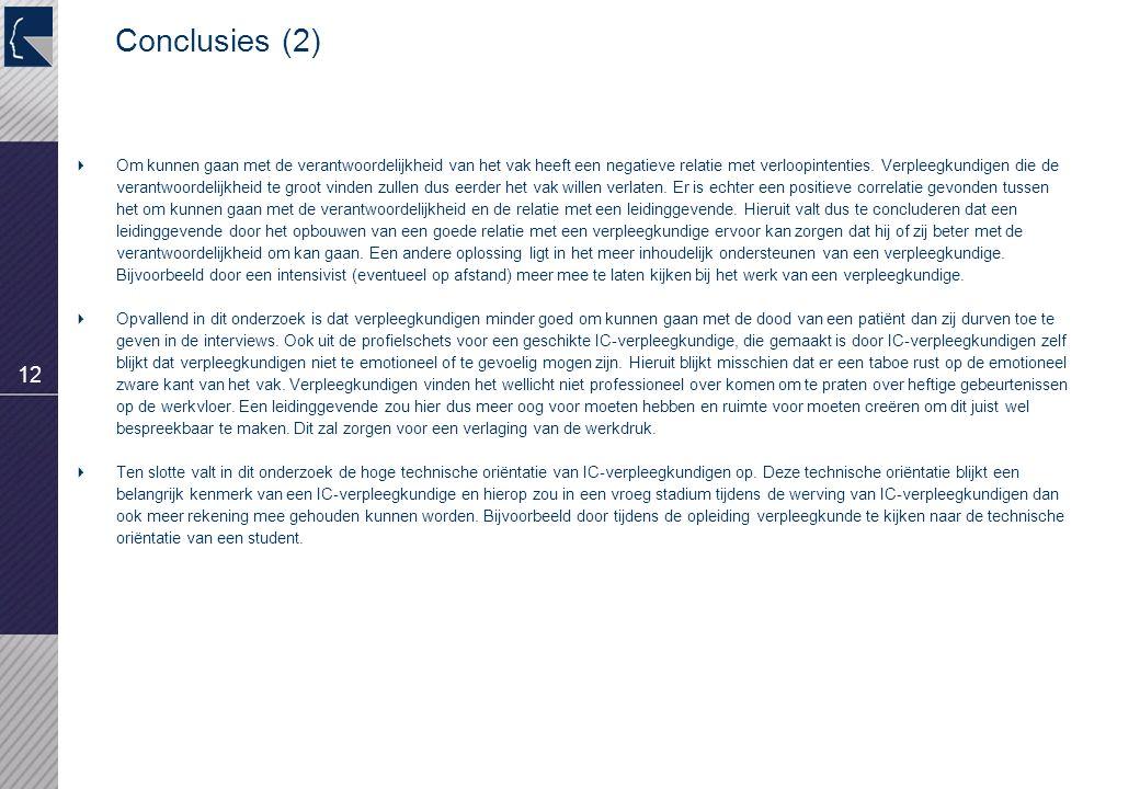 12 Conclusies (2)  Om kunnen gaan met de verantwoordelijkheid van het vak heeft een negatieve relatie met verloopintenties. Verpleegkundigen die de v