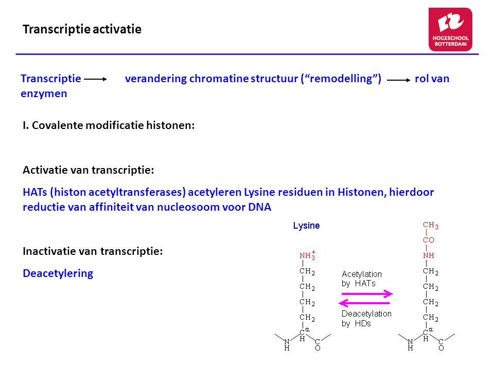 Transcriptie verandering chromatine structuur ( remodelling ) rol van enzymen I.