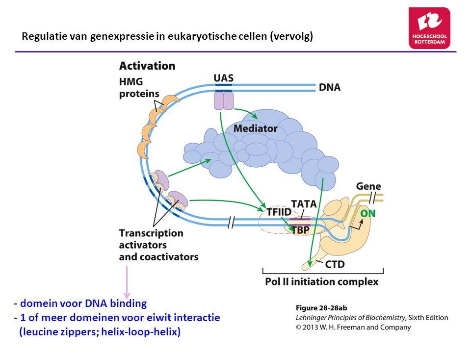 - domein voor DNA binding - 1 of meer domeinen voor eiwit interactie (leucine zippers; helix-loop-helix) Regulatie van genexpressie in eukaryotische cellen (vervolg)
