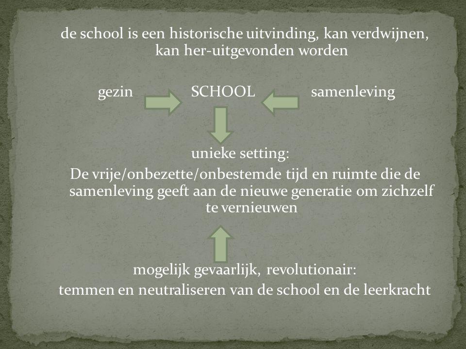 de school is een historische uitvinding, kan verdwijnen, kan her-uitgevonden worden gezinSCHOOL samenleving unieke setting: De vrije/onbezette/onbestemde tijd en ruimte die de samenleving geeft aan de nieuwe generatie om zichzelf te vernieuwen mogelijk gevaarlijk, revolutionair: temmen en neutraliseren van de school en de leerkracht