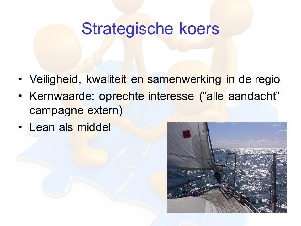 Strategische koers Veiligheid, kwaliteit en samenwerking in de regio Kernwaarde: oprechte interesse ( alle aandacht campagne extern) Lean als middel