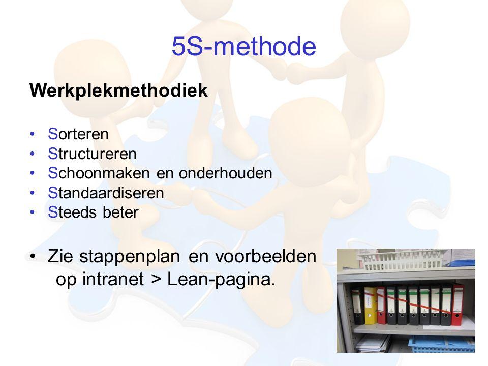 5S-methode Werkplekmethodiek Sorteren Structureren Schoonmaken en onderhouden Standaardiseren Steeds beter Zie stappenplan en voorbeelden op intranet > Lean-pagina.
