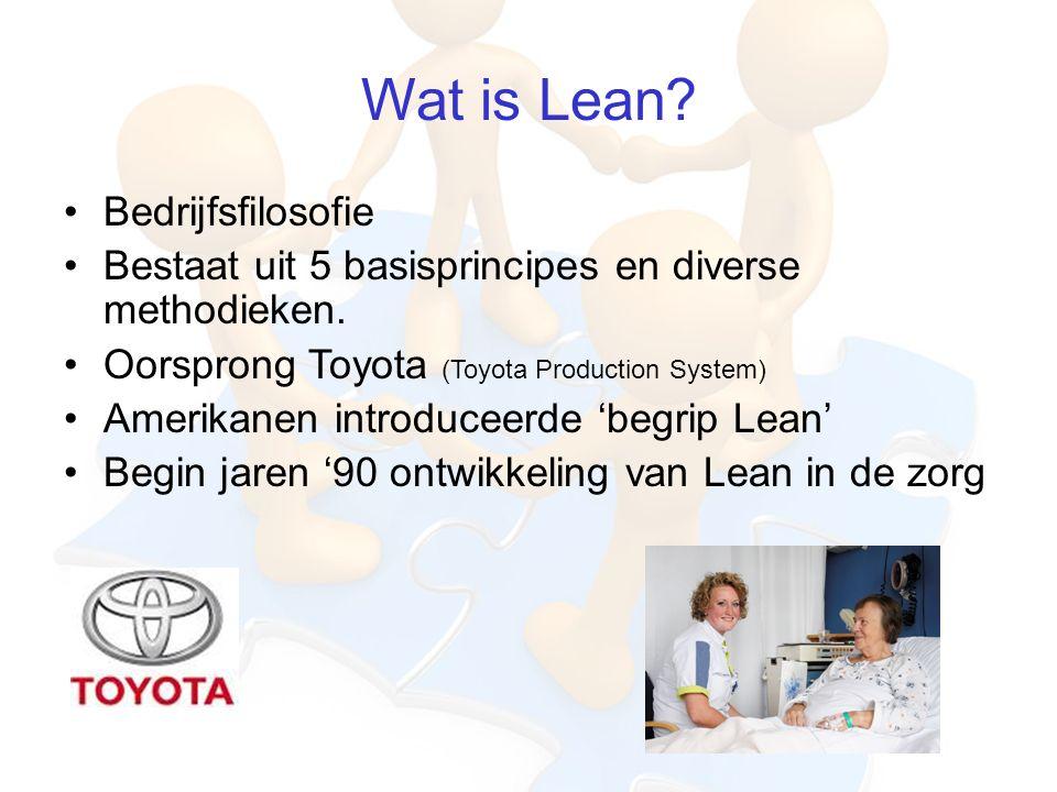 Wat is Lean.Bedrijfsfilosofie Bestaat uit 5 basisprincipes en diverse methodieken.