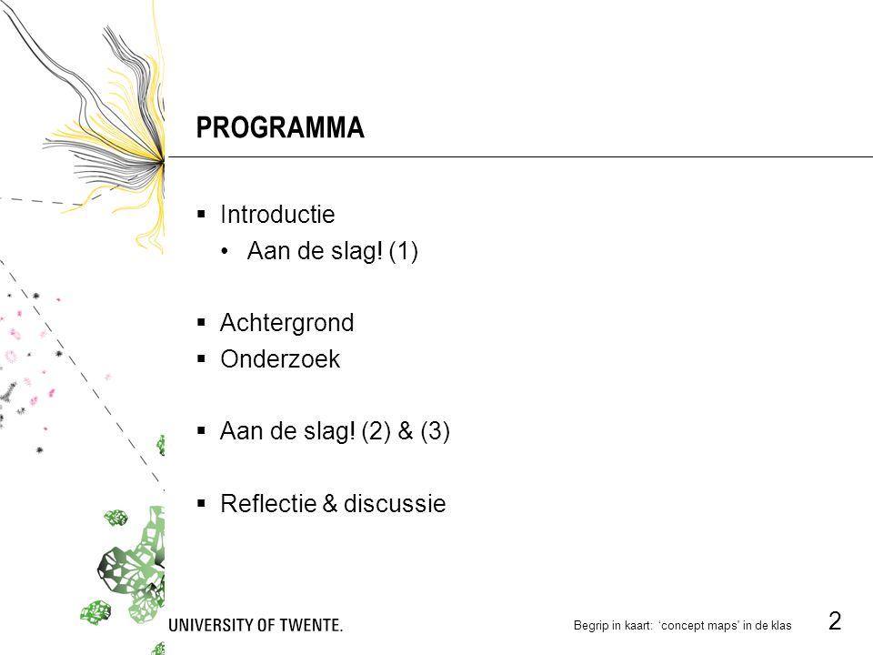 Begrip in kaart: 'concept maps in de klas 2 PROGRAMMA  Introductie Aan de slag.