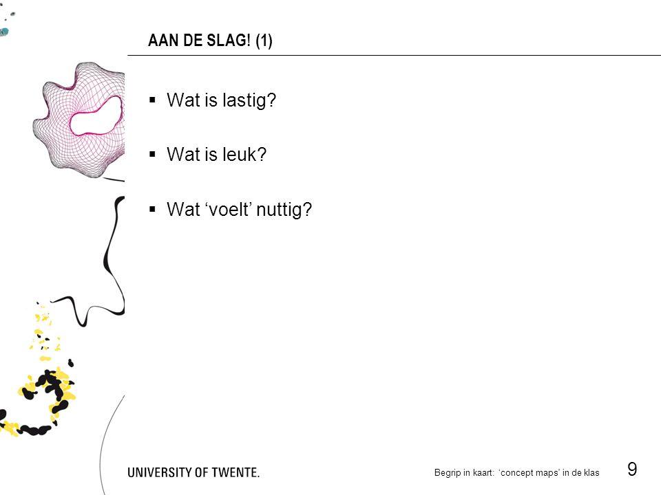 Begrip in kaart: 'concept maps in de klas 9 AAN DE SLAG.
