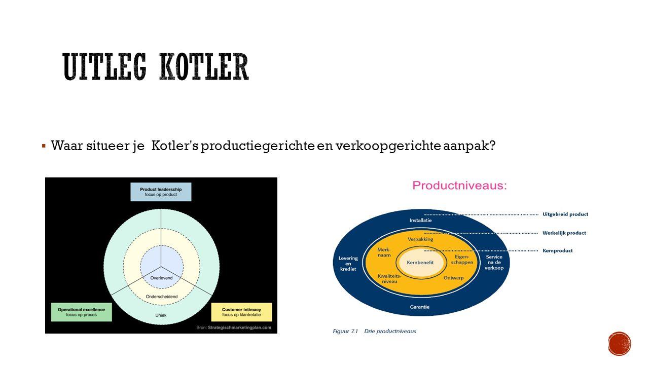 Waar situeer je Kotler's productiegerichte en verkoopgerichte aanpak?