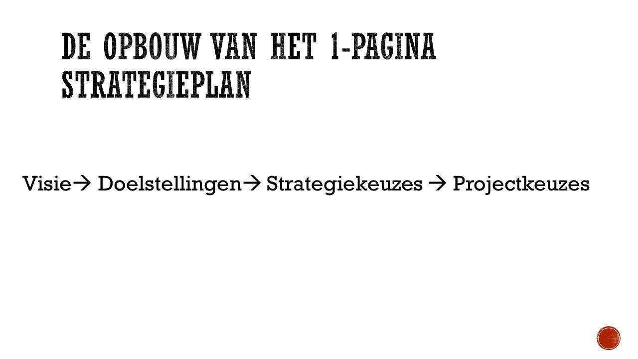 Visie  Doelstellingen  Strategiekeuzes  Projectkeuzes