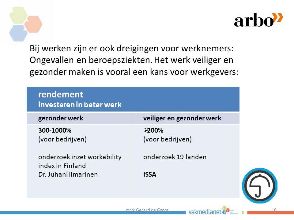 nvvk Gerard de Groot16 Bij werken zijn er ook dreigingen voor werknemers: Ongevallen en beroepsziekten. Het werk veiliger en gezonder maken is vooral
