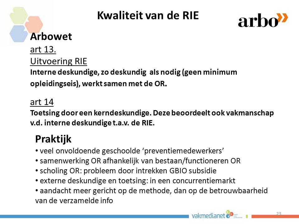 23 Kwaliteit van de RIE Arbowet art 13. Uitvoering RIE Interne deskundige, zo deskundig als nodig (geen minimum opleidingseis), werkt samen met de OR.