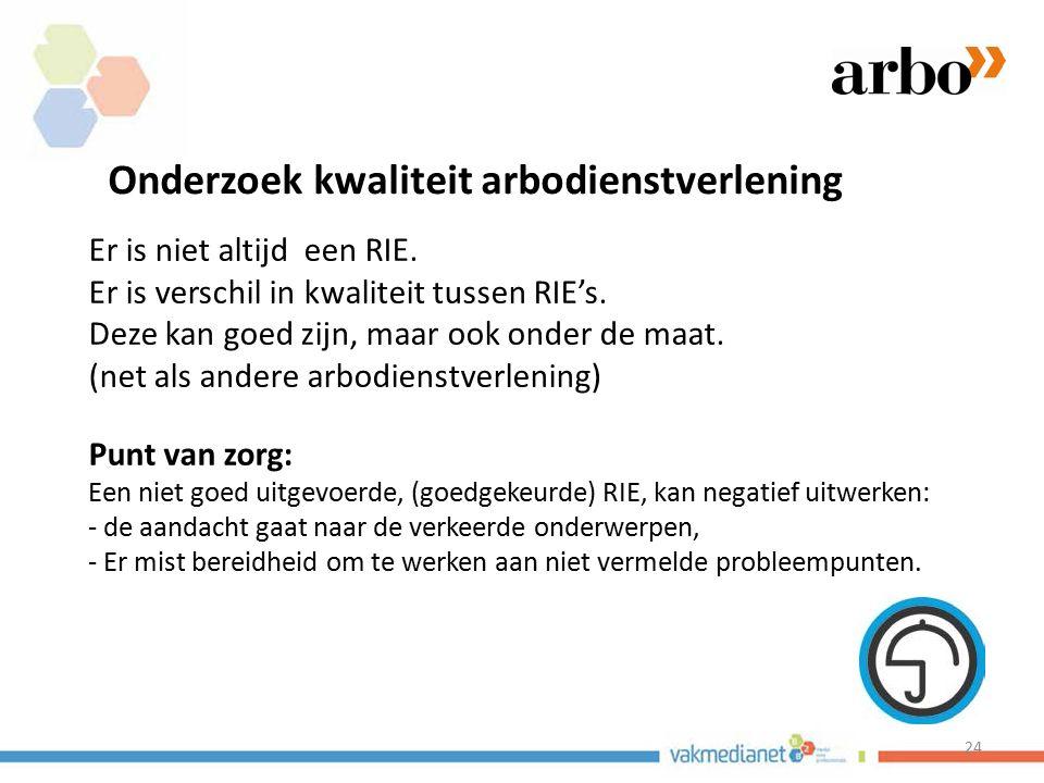 24 Onderzoek kwaliteit arbodienstverlening Er is niet altijd een RIE. Er is verschil in kwaliteit tussen RIE's. Deze kan goed zijn, maar ook onder de