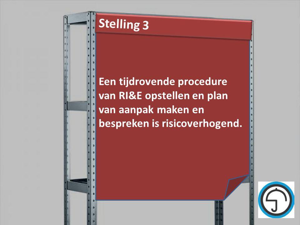nvvk Gerard de Groot31 Een tijdrovende procedure van RI&E opstellen en plan van aanpak maken en bespreken is risicoverhogend. Stelling 3