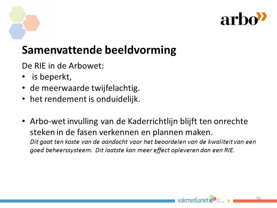 38 Samenvattende beeldvorming De RIE in de Arbowet: is beperkt, de meerwaarde twijfelachtig. het rendement is onduidelijk. Arbo-wet invulling van de K