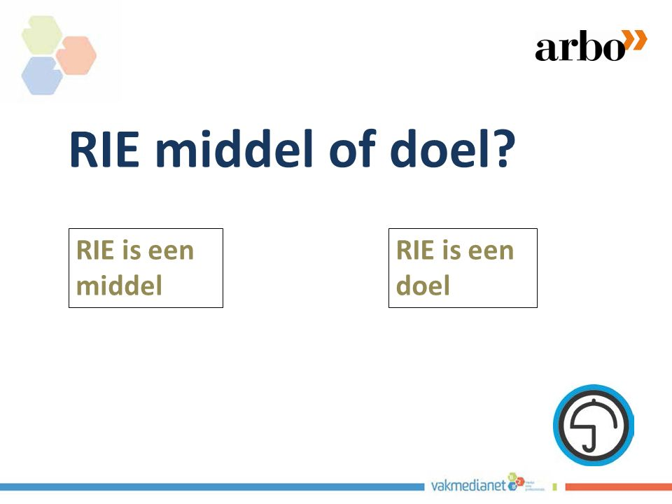 RIE middel of doel? RIE is een middel RIE is een doel