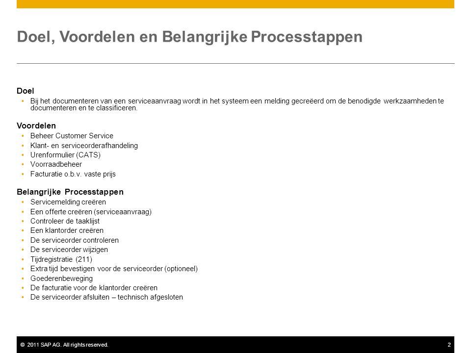 ©2011 SAP AG. All rights reserved.2 Doel, Voordelen en Belangrijke Processtappen Doel  Bij het documenteren van een serviceaanvraag wordt in het syst