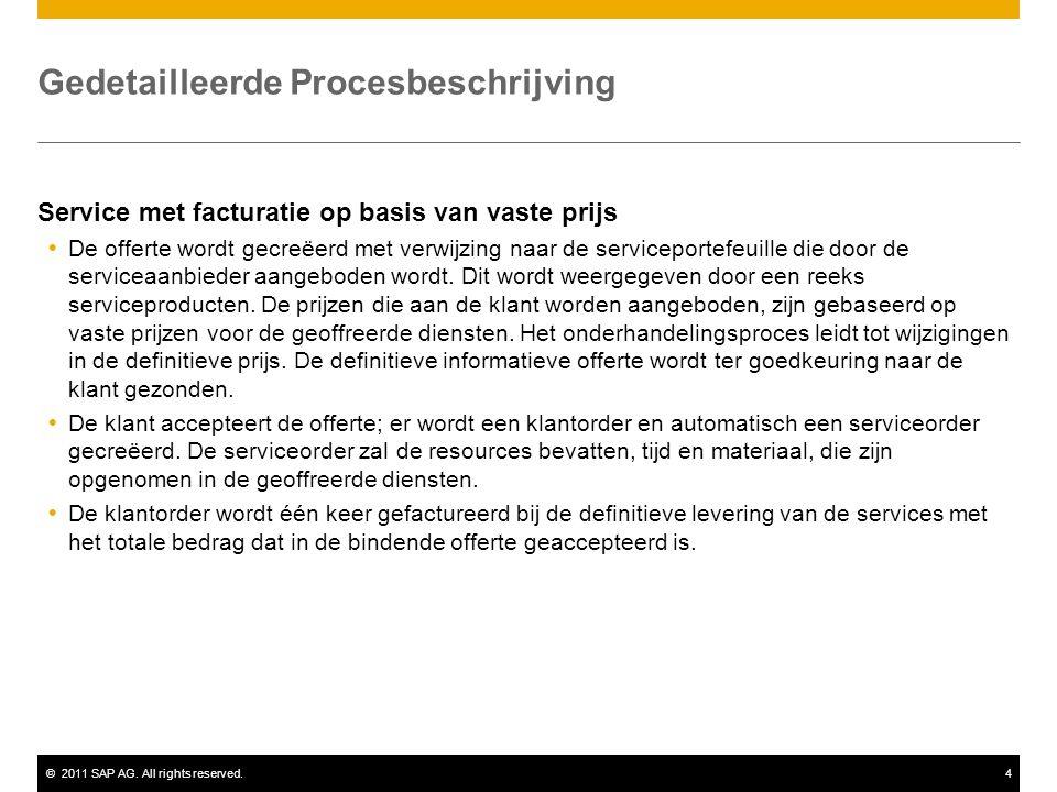 ©2011 SAP AG. All rights reserved.4 Gedetailleerde Procesbeschrijving Service met facturatie op basis van vaste prijs  De offerte wordt gecreëerd met